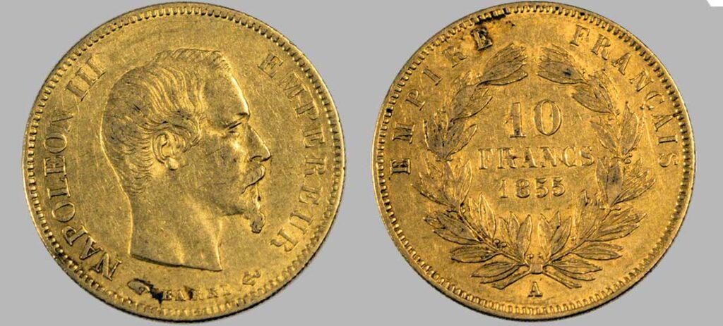 Avers y Revers de la 10 Francs en Or A-1855. Le demi napoléon or A-1855 est une Pièce d'Or française de 3,22 gramme d'or titrant 900‰ d'un diamètre de 19,00 mm. 959 190 10 Francs or 1855 produites.