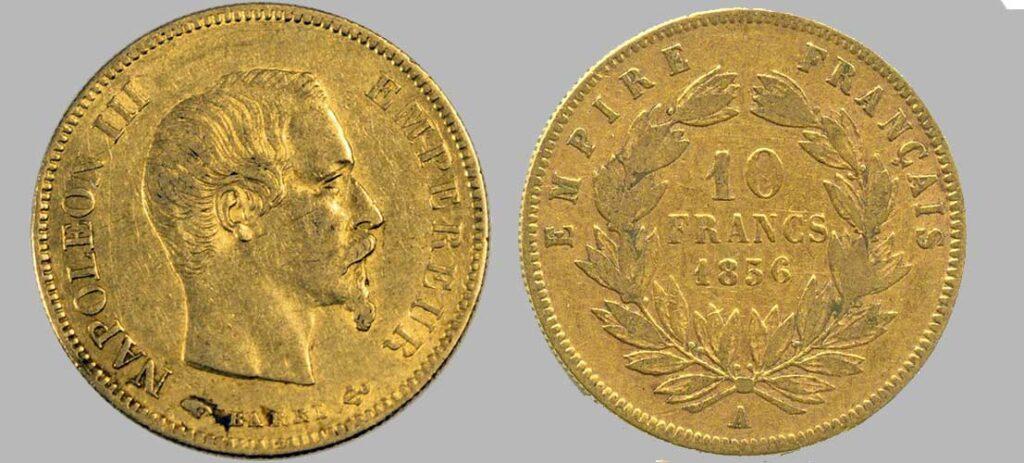 Avers y Revers de la 10 Francs en Or A-1856. Le demi napoléon or A-1856 est une Pièce d'Or française de 3,22 gramme d'or titrant 900‰ d'un diamètre de 19,00 mm. 10 777 734 10 Francs or 1856 produites.