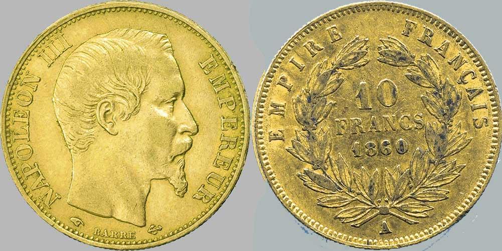 Avers y Revers de la 10 Francs en Or A-1860. Le demi napoléon or A-1860 est une Pièce d'Or française de 3,22 gramme d'or titrant 900‰ d'un diamètre de 19,00 mm. 6 363 131 exemplaires de la 10 Francs or 1860 produites.