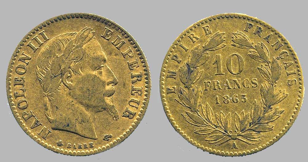 Avers y Revers de la 10 Francs en Or A-1865. Le demi napoléon or A-1865 est une Pièce d'Or française de 3,22 gramme d'or titrant 900‰ d'un diamètre de 19,00 mm.