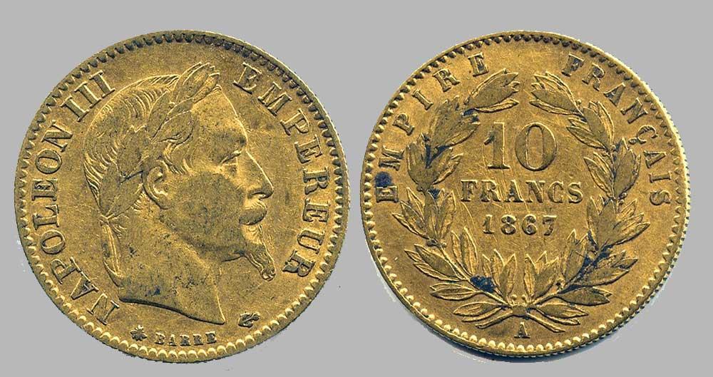Avers y Revers de la 10 Francs en Or A-1867. Le demi napoléon or A-1867 est une Pièce d'Or française de 3,22 gramme d'or titrant 900‰ d'un diamètre de 19,00 mm.