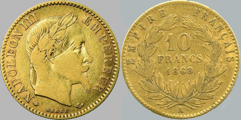 Avers y Revers de la 10 Francs en Or A-1868. Le demi napoléon or A-1868 est une Pièce d'Or française de 3,22 gramme d'or titrant 900‰ d'un diamètre de 19,00 mm