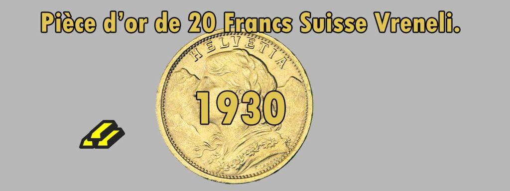 Fiche de 20 Francs or Vreneli Croix Suisse de 1930