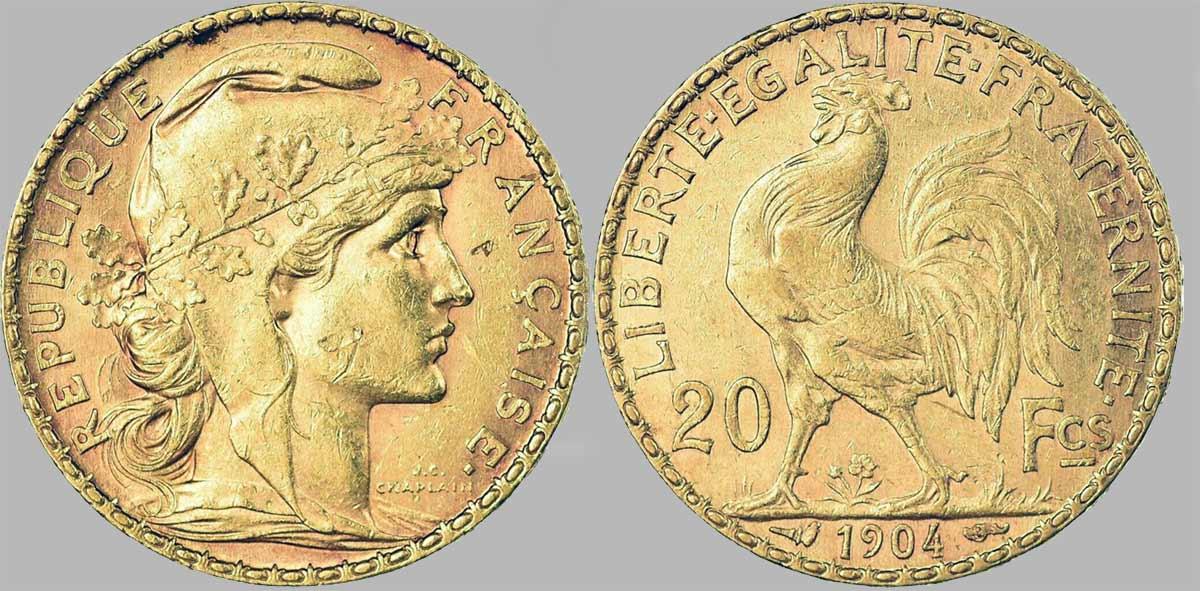 Cara y cruz de la moneda de oro francesa de 20 Francos Marianne 1904. El Napoleón de 1904 o es una moneda de oro francesa con 5,80 Gramos de oro fino y un diámetro de 21,0 mm.