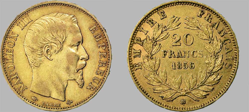 Avers y Revers de la 20 Francs en Or Napoléon III BB-1856. Le napoléon or BB-1856 est une Pièce d'Or française de 5,80 gramme d'or fin d'un diamètre de 21,0 mm, tirage: 1 125 030 pièces produites