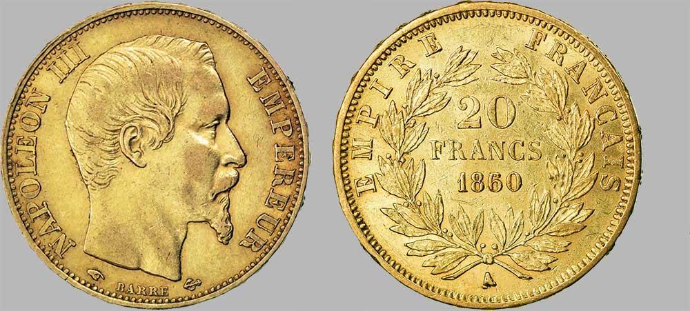 Le napoléon or A-1860 est une Pièce d'Or française de 5,80 gramme d'or fin d'un diamètre de 21,0 mm, tirage: 10 219 917 pièces produites