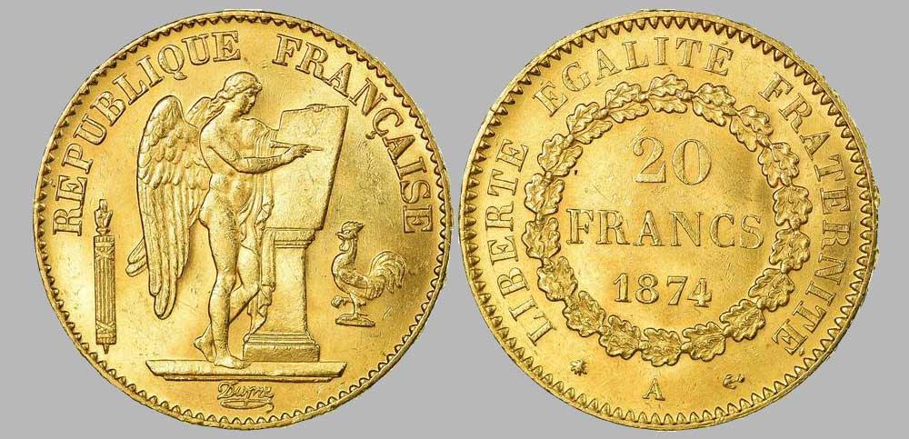 Le napoléon or 1874 A est une Pièce d'Or française de 5,80 gramme d'or fin d'un diamètre de 21,0 mm.