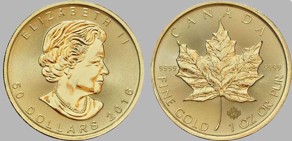 """Avers y revers de la pièce en or canadienne """"feuille d'érable"""" d'une once d'or millésime 2016. La pièce d'or """"feuille d'érable"""" 2016 est en or 24 carats soit 100% d'or."""