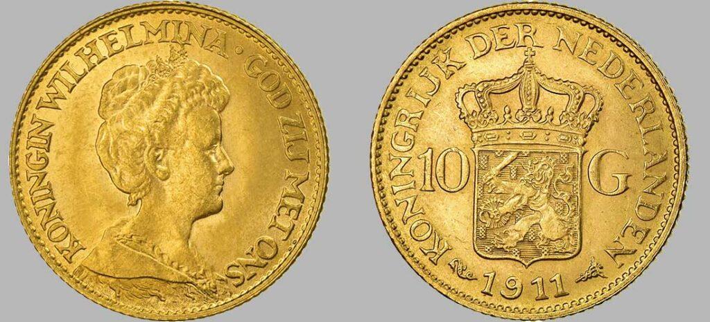 Pièce en or de 10 Gulden (Florins) de 1911 d'un poids de 6.72 Gr à 900‰, diamètre 22 mm 1911 avec 774 544 pièces produites, la série 10 Florins Or Wilhelmina Reine âgée a été frappée entre 1911 et 1923 a près de 9.000.000 d'exemplaires.
