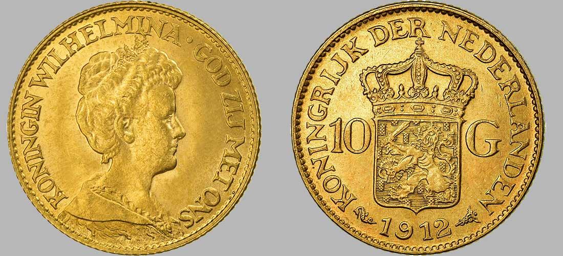 Pièce en or de 10 Gulden (Florins) de 1912 d'un poids de 6.72 Gr à 900‰, diamètre 22 mm 1912 avec 3 000 000 pièces produites, la série 10 Florins Or Wilhelmina Reine âgée a été frappée entre 1911 et 1923 a près de 9.000.000 d'exemplaires.