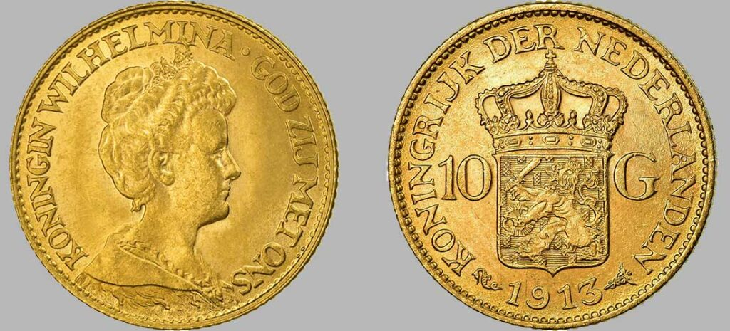 Pièce de 10 Gulden Or de 1913 d'un poids de 6.72 Gr à 900‰, diamètre 22 mm 1913 avec 1 133 476 pièces produites