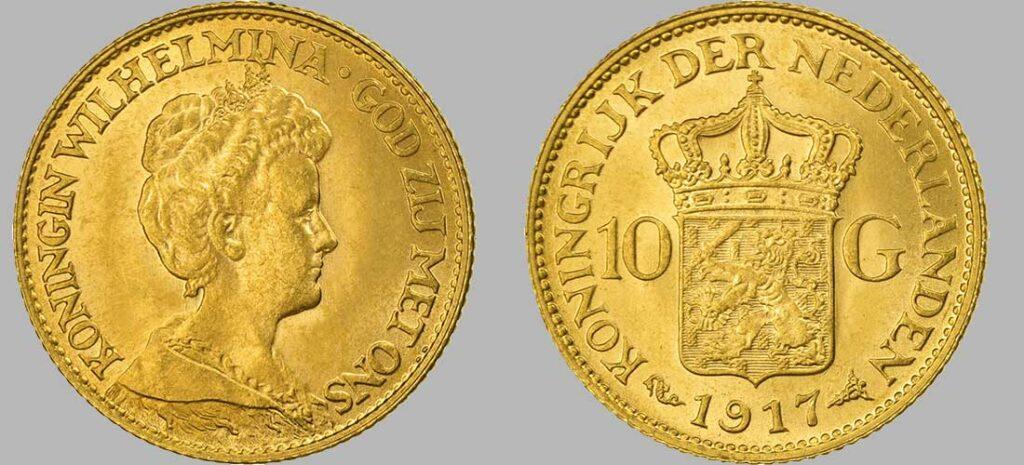 Pièce en or de 10 Gulden (Florins) de 1917 d'un poids de 6.72 Gr à 900‰, diamètre 22 mm 1917 avec 4 000 000 pièces produites, la série 10 Florins Or Wilhelmina Reine âgée a été frappée entre 1911 et 1923 a près de 9.000.000 d'exemplaires.