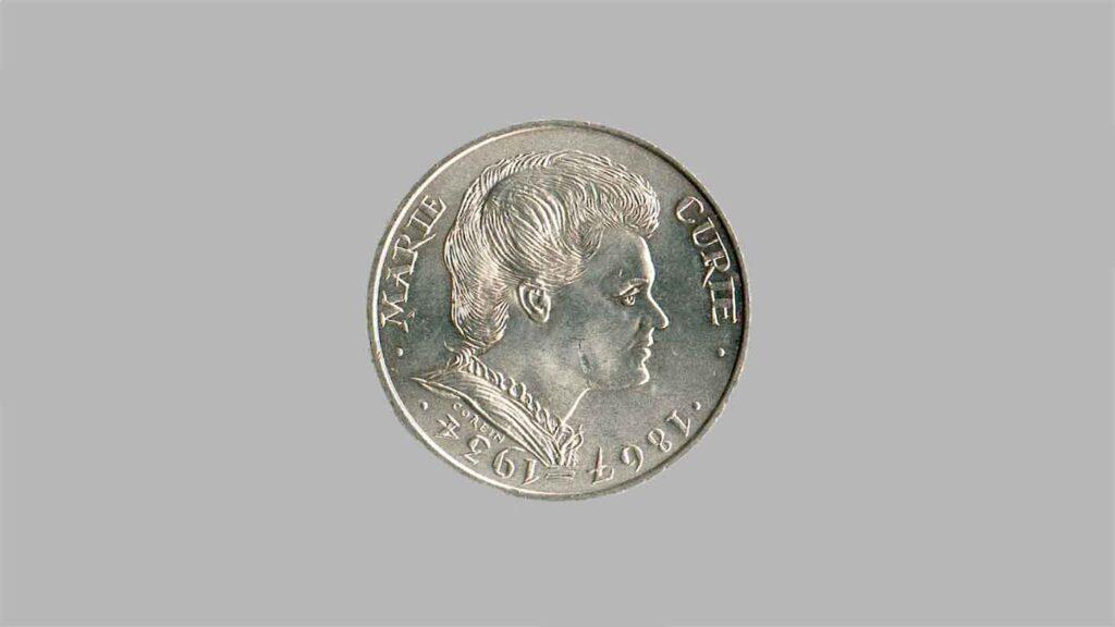 Pièce en argent de 100 Francs de 1984. Marie Curie.