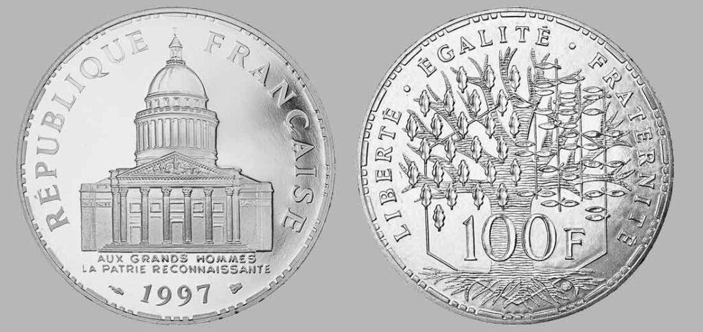La pièce de monnaie française de 100 francs en argent 1997 pèse 15 grammes et possèdent 90% d'argent pur. Tirage : 6.436  exemplaires frappe en belle épreuve pour cette année, 15 millions d'exemplaires pour la série pièces en argent de 100 francs Panthéon en total.
