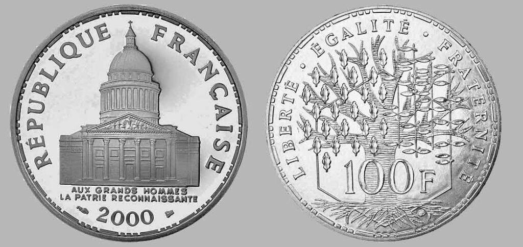 La pièce de monnaie française de 100 francs en argent 2000 pèse 15 grammes et possèdent 90% d'argent pur. Tirage : 15.000 exemplaires frappe en belle épreuve pour cette année, 15 millions d'exemplaires pour la série pièces en argent de 100 francs Panthéon en total.