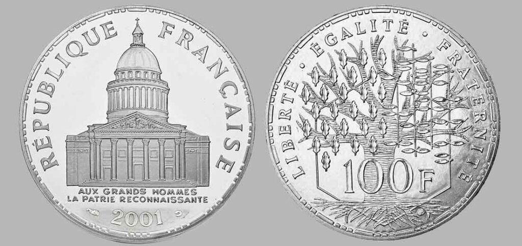 La pièce de monnaie française de 100 francs en argent 2001 pèse 15 grammes et possèdent 90% d'argent pur. Tirage : 35.000 exemplaires frappe en belle épreuve pour cette année, la dernière de la série, 15 millions d'exemplaires pour la série pièces en argent de 100 francs Panthéon en total.