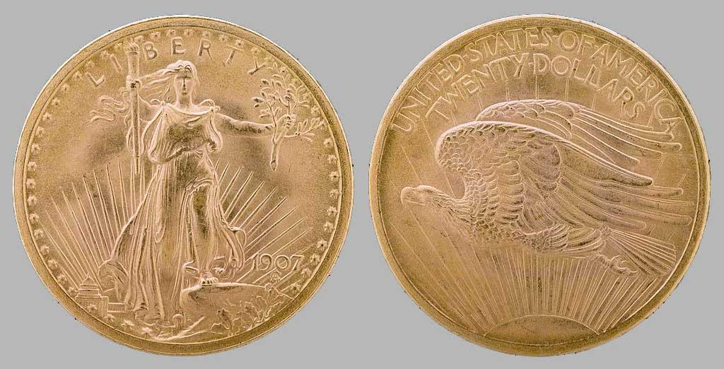 Tous les modèles et année des 20 Dollars en or Saint-Gaudens, Type 1 Haut-Relief (1907)
