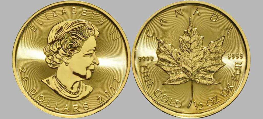 Avers y revers de la pièce en or canadienne « feuille d'érable » d'une demi once d'or millésime 2017. La pièce d'or « feuille d'érable » 2017 est en or 24 carats soit 100% d'or.