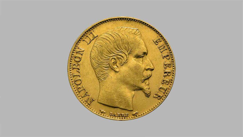 Article sur la pièce d'or de 100 Francs Napoléon III tête Nue, de 1855 à 1859.
