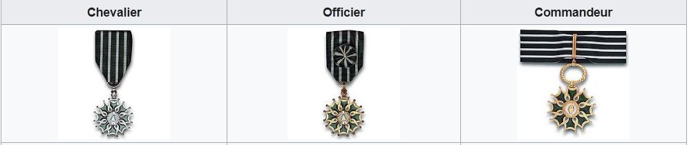 Les médailles Ordre des Arts et des Lettres est destiné à récompenser les personnes qui se sont distinguées par leur création dans le domaine artistique ou littéraire.