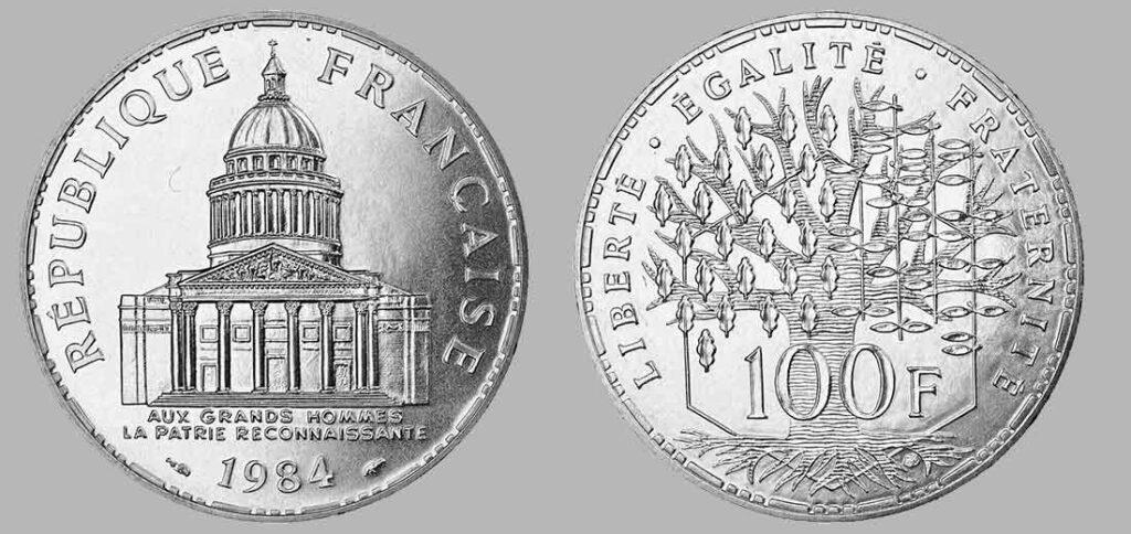 La pièce de monnaie françaises de 100 francs en argent 1984 pèse 15 grammes et possèdent 90% d'argent pur. Tirage : 4 986 800 exemplaires cette année, 15 millions d'exemplaires en total.
