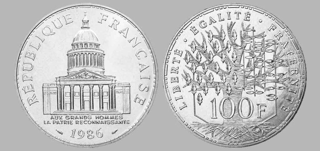 La pièce de monnaie françaises de 100 francs en argent 1986 pèse 15 grammes et possèdent 90% d'argent pur. Tirage : 486 400 exemplaires cette année, 15 millions d'exemplaires en total.