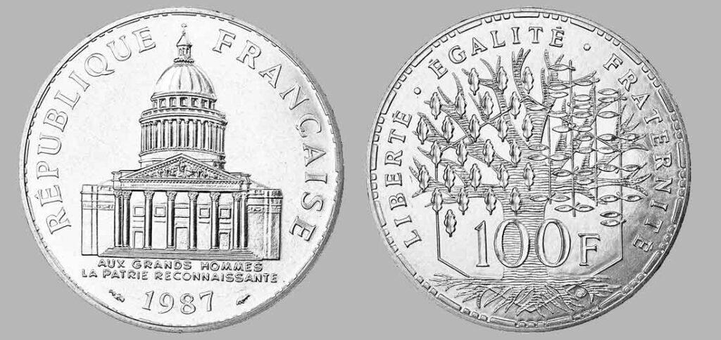 La pièce de monnaie françaises de 100 francs en argent 1987 pèse 15 grammes et possèdent 90% d'argent pur. Tirage : 81 000 exemplaires cette année, 15 millions d'exemplaires en total.
