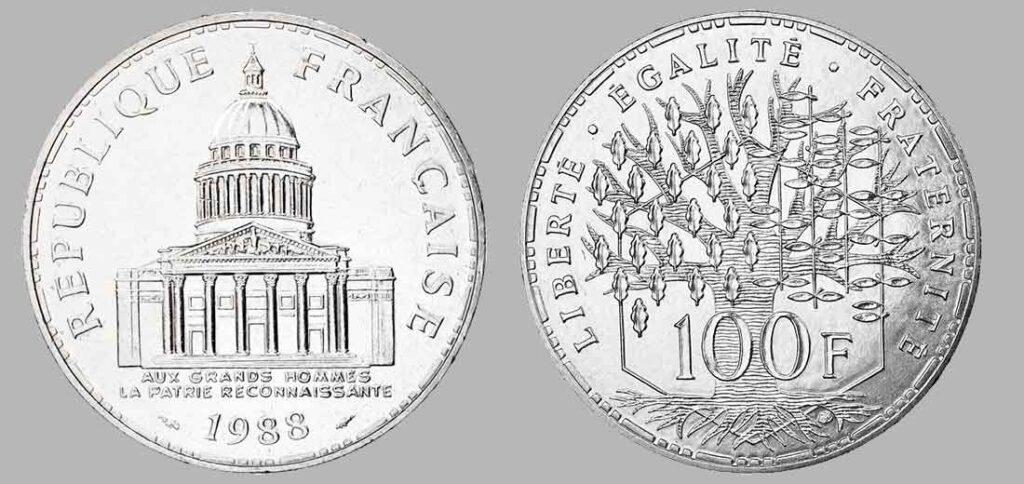 La pièce de monnaie françaises de 100 francs en argent 1988 pèse 15 grammes et possèdent 90% d'argent pur. Tirage : 85 000 exemplaires cette année, 15 millions d'exemplaires en total.