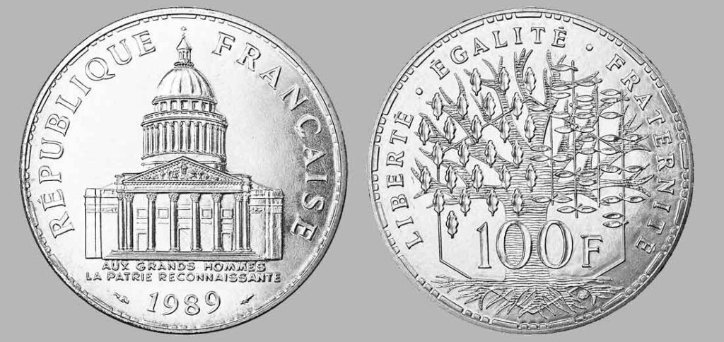 La pièce de monnaie françaises de 100 francs en argent 1989 pèse 15 grammes et possèdent 90% d'argent pur. Tirage : 83 000 exemplaires cette année, 15 millions d'exemplaires en total.