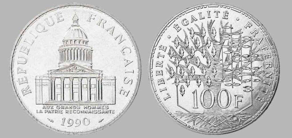 La pièce de monnaie françaises de 100 francs en argent 1990 pèse 15 grammes et possèdent 90% d'argent pur. Tirage : 5 000 exemplaires cette année, 15 millions d'exemplaires en total.