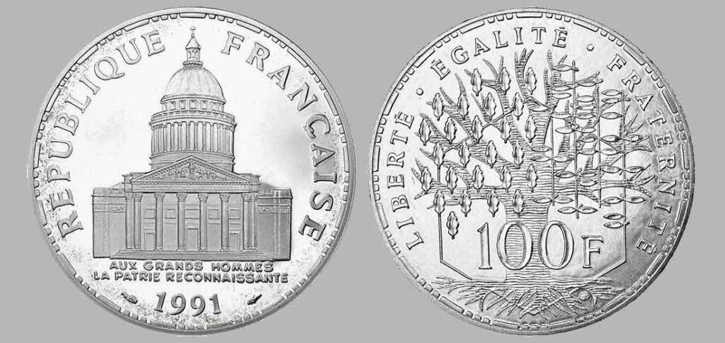 La pièce de monnaie françaises de 100 francs en argent 1991 pèse 15 grammes et possèdent 90% d'argent pur. Tirage : 5 000 exemplaires cette année, 15 millions d'exemplaires en total.
