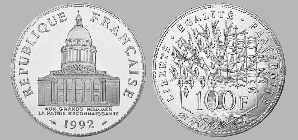 La pièce de monnaie françaises de 100 francs en argent 1992 pèse 15 grammes et possèdent 90% d'argent pur. Tirage : 4.938 exemplaires cette année, 15 millions d'exemplaires en total.