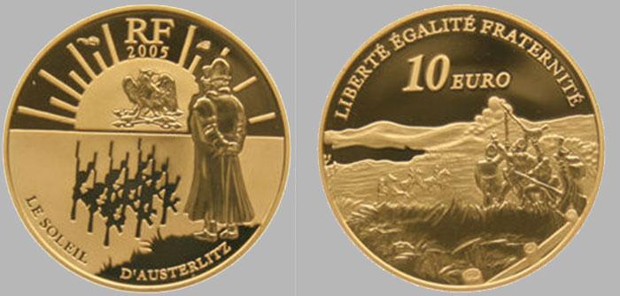 La monnaie en or de 10 euros or Austerlitz – Bicentenaire de la victoire – 2005