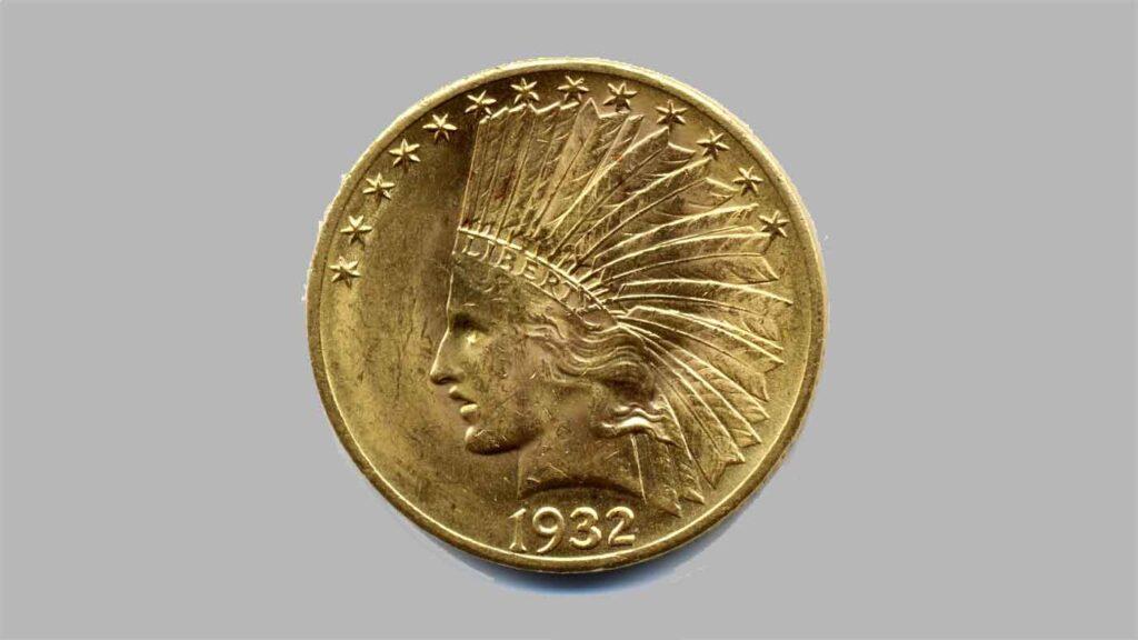 """Article sur les monnaies de 10 dollars """"Tête d'indien"""" en OR, 1907 à 1933. Fiche et valeur en bourse."""