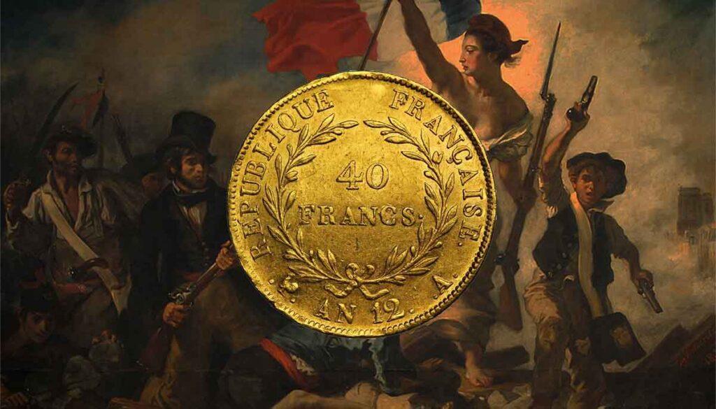 Tous les modèles et année des monnaies en or françaises de 40 Francs OR.