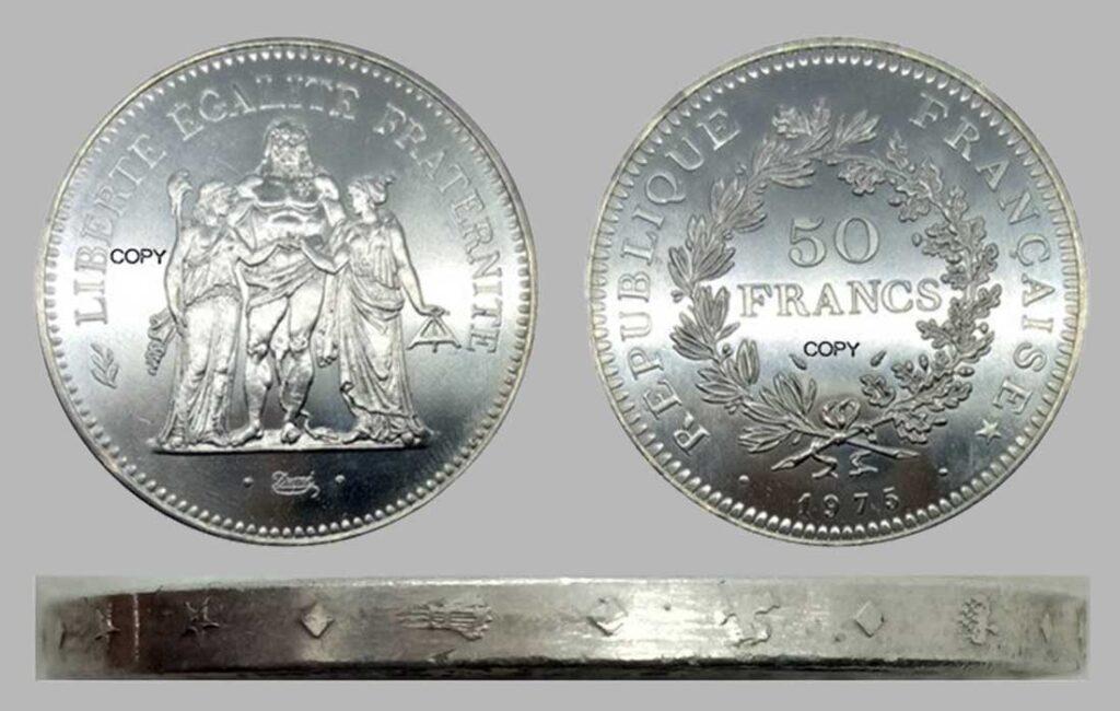Fausses pièces 50 Francs 1975 Hercule en argent.
