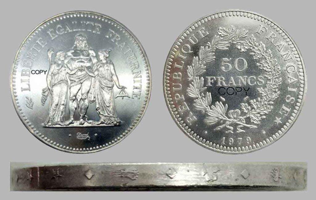 Faux 50 Francs Hercule en argent 1979