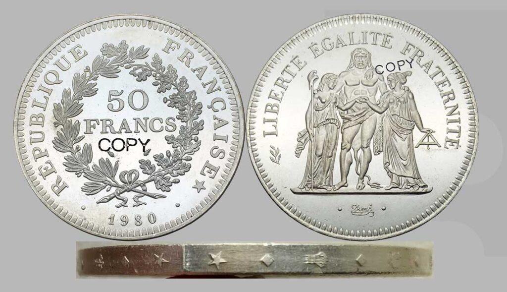 Fausses pièces 50 Francs 1980 Hercule en argent.