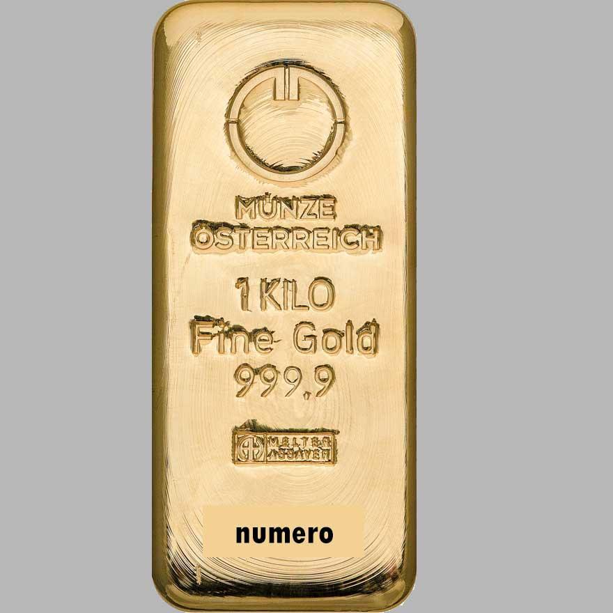 Photo du lingot d'or 1 kilo Münze Österreich.