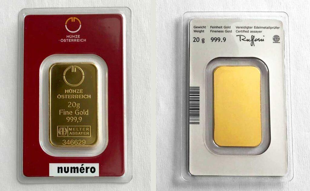 lingots or 20 grammes Münze Österreich frappé - Kinegram®