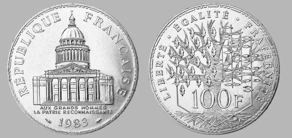 La pièce de monnaie françaises de 100 francs en argent 1983 pèse 15 grammes et possèdent 90% d'argent pur. Tirage : 4 984 400 exemplaires cette année, 15 millions d'exemplaires en total.