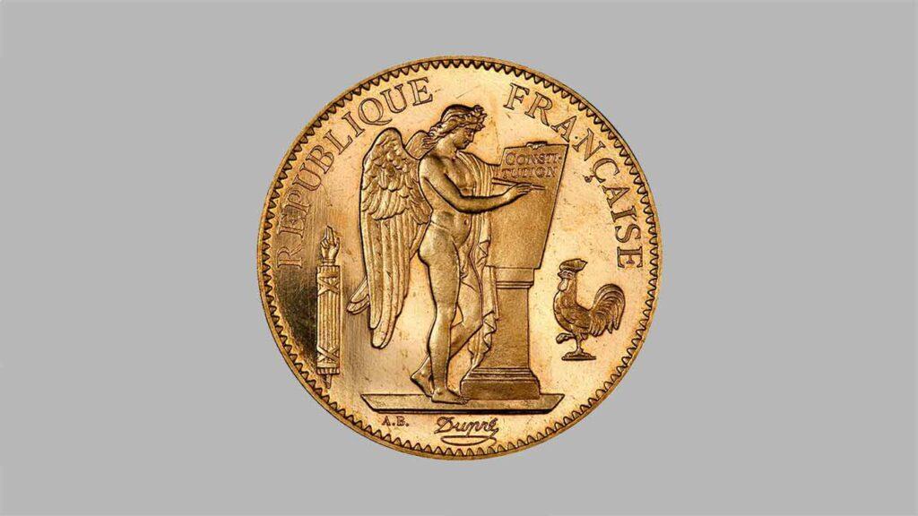 Article sur pièce d'or 100 Francs Or Génie / Dupré, de 1878 à 1914.