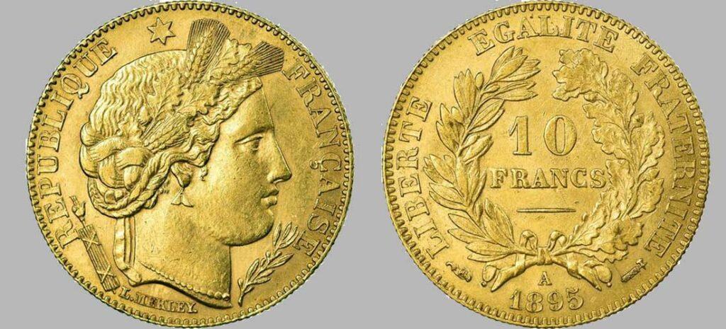 Avers y Revers de la 10 Francs en Or 1895. Le demi napoléon or 1895 est une Pièce d'or d'investissement française de 3,22 gramme d'or titrant 900‰ d'un diamètre de 19,00 mm.