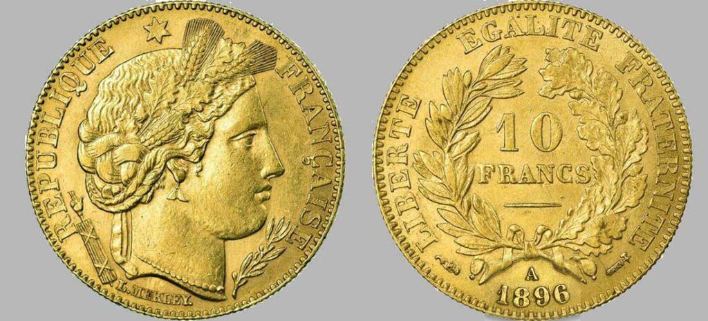 Avers y Revers de la 10 Francs en Or 1896. Le demi napoléon or 1896 est une Pièce d'or d'investissement française de 3,22 gramme d'or titrant 900‰ d'un diamètre de 19,00 mm.