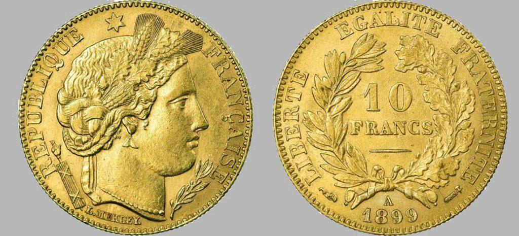 Avers y Revers de la 10 Francs en Or 1899. Le demi napoléon or 1899 est une Pièce d'or d'investissement française de 3,22 gramme d'or titrant 900‰ d'un diamètre de 19,00 mm.