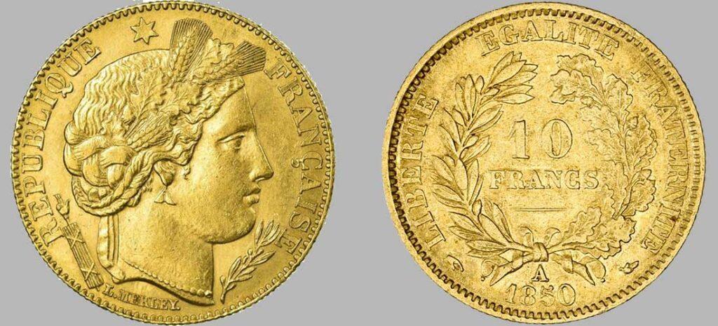 Avers y Revers de la 10 Francs en Or 1850. Le demi napoléon or 1850 est une Pièce d'or d'investissement française de 3,22 gramme d'or titrant 900‰ d'un diamètre de 19,00 mm.