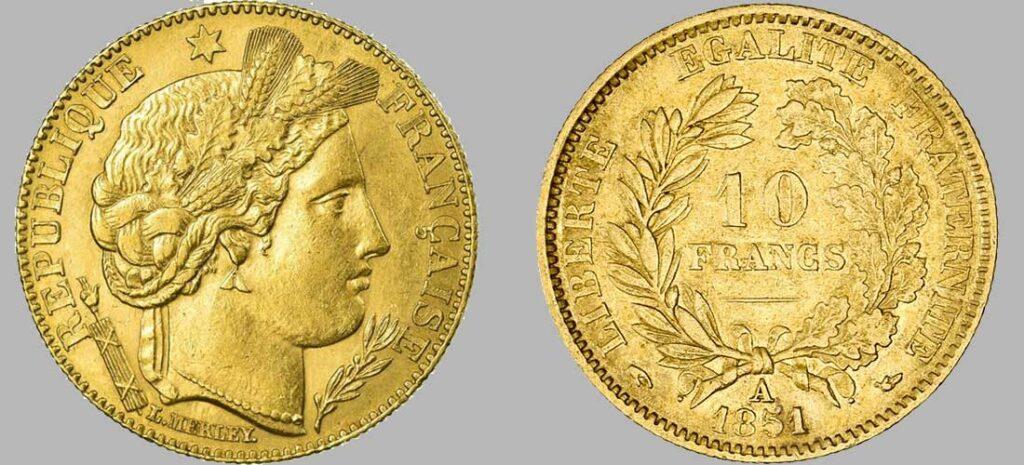Avers y Revers de la 10 Francs en Or 1851. Le demi napoléon or 1851 est une Pièce d'or d'investissement française de 3,22 gramme d'or titrant 900‰ d'un diamètre de 19,00 mm.