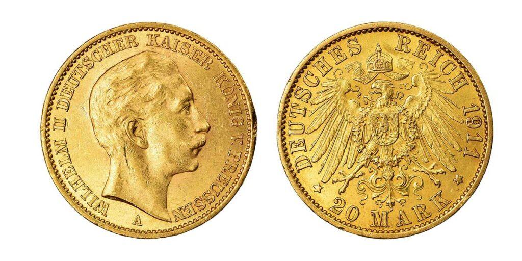 Pièce en or allemande 20 Mark 1913